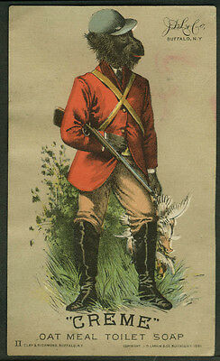 Crème Oat Meal Toilet Soap trade card 1880s monkey in hunter's outfit gun & game