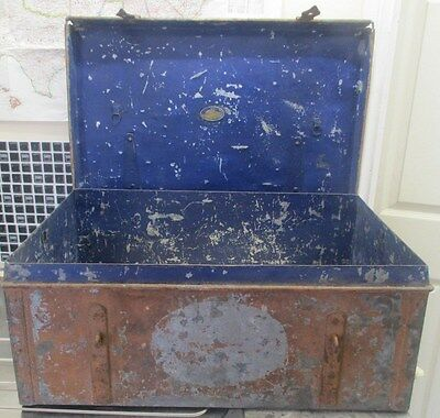 Antique WW1 Period Heavy Large Metal Egyptian Military Army Trunk
