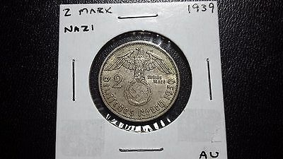 1939-A Germany 2 Mark Third Reich Swastika high grade .900 silver coin