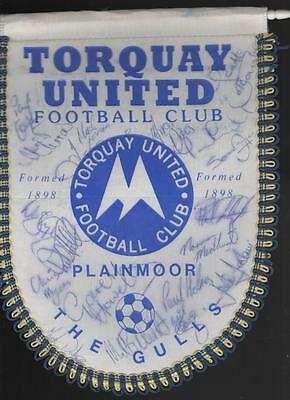 TORQUAY UNITED Signed Pennant early 1990's  FREE POST UK