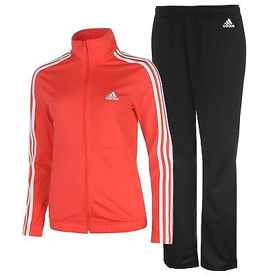 adidas Womens Back 2 Basics 3 Stripes Tracksuit Sports Elastic Bottoms Zip Top