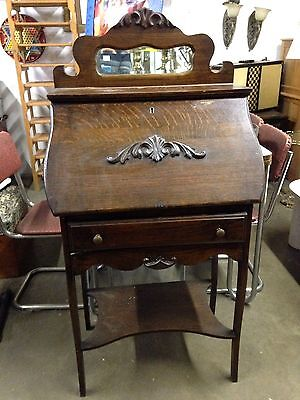 Antique Wood Drop Front Secretary Arts and Crafts Desk with Mirror