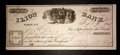 Usa Banknote** Vintage Ilion Bank Issued Cheque** $360** 1864
