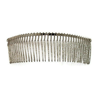 "6 Metal Hair Combs 36 Wire Teeth Silver Bridal Prom Supply Accessory 5.7"" 145mm"