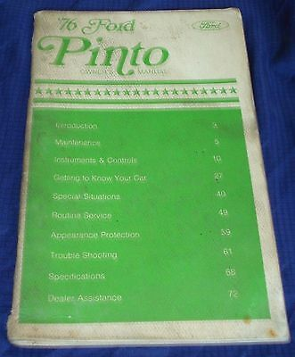 RF824 1976 76 Ford Pinto Owners Manual