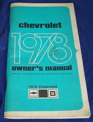 RF827 1978 78 Chevrolet Chev Chevy Owners Manual