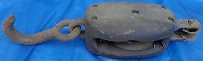 RP1517 Antique Vtg Wood Wooden Block & Tackle w/ Hand Forged Steel Hook