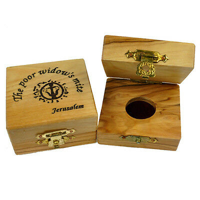 Olive Wood Box for Widows Mite Coin from Jerusalem - Box Only