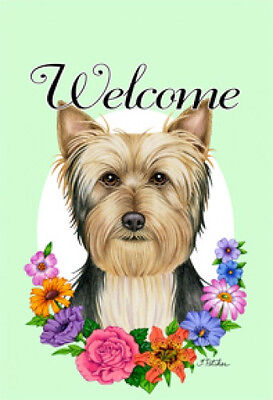Large Indoor/Outdoor Welcome Flag (Flowers) - Silky Terrier 63102