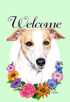Large Indoor/Outdoor Welcome Flag (Flowers) - Whippet 63062