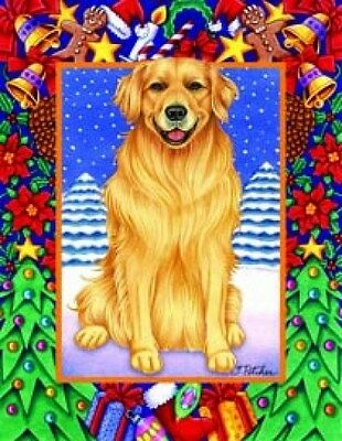 Large Indoor/Outdoor Christmas Flag - Golden Retriever (TP) 68005