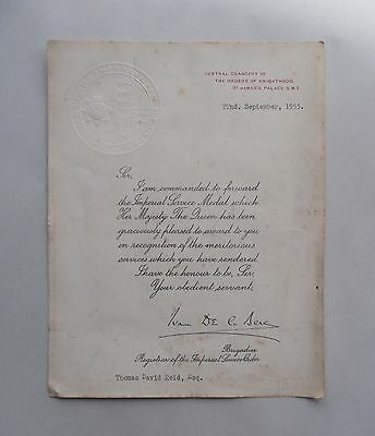 1953 Imperial Service Medal Certificate. St James Palace Seal. Paper Ephemera