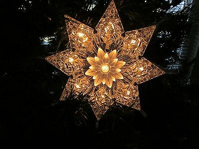 Light Up Clear Silver Prism Star Christmas Tree Topper~New