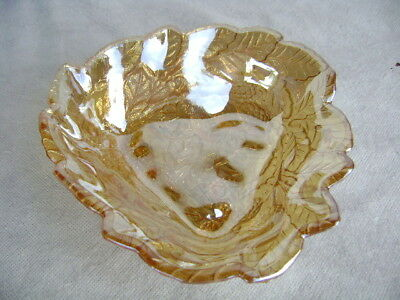 Indiana Glass Marigold Loganberry, Grapes & Leaves Candy,Snack, Salad Bowl Dish