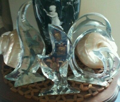 WYLAND lucite sculptures art ,1 of 3 ;Turtles & dolphin & whales signed numbered
