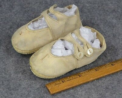 baby doll shoes button white leather  antique Victorian Edwardian 1800