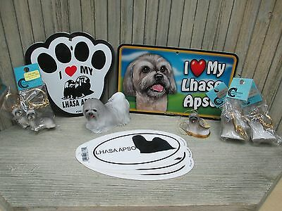 Gray Lhasa Apso - Signs, Statue, Angel Dog Ornament, Key Chains, tickers