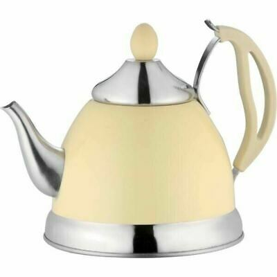 Cream 1.5L Stainless Steel Tea Pot Removeable Infuser And Non Drip Spout Teapot