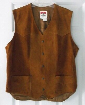 MARLBORO Tan Suede Leather Western Wear / Biker Vest Men's Size 44L 44 L Man