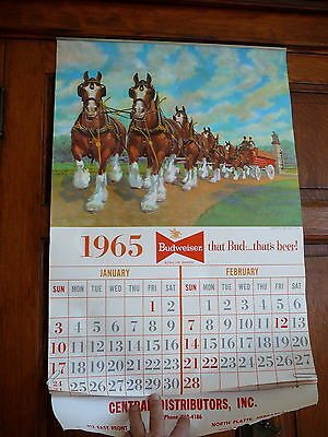 "BUDWEISER BEER CLYDESDALES 1965  LARGE WALL CALENDAR 16"" x 25"" NORTH PLATTE NE"