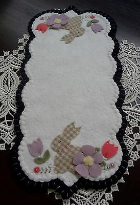 """""""Woolly Checked Garden Bunny Primitive Runner"""" ~ Penny Rug ~ Candle Mat ~ Wool"""