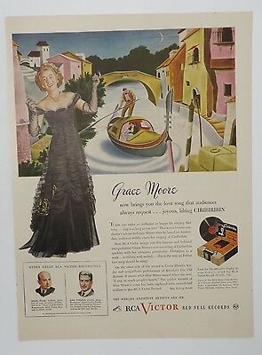 Original Print Ad 1945 RCA VICTOR Grace Moore Red Seal Records