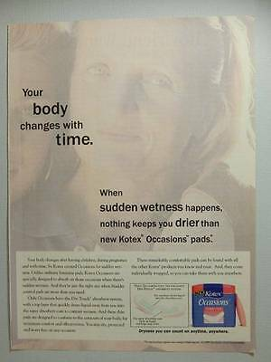 Kotex Occasions Absorbent Pads Magazine Ad Page 1995 Your Body Changes Over Time