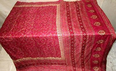 Maroon Pure Silk 4 yard Vintage Sari GIFT Low Price established seller UK #ADXIC