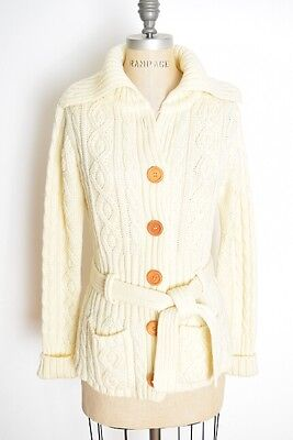 vintage 70s sweater cream cable knit cardigan hippie boho jumper top S M