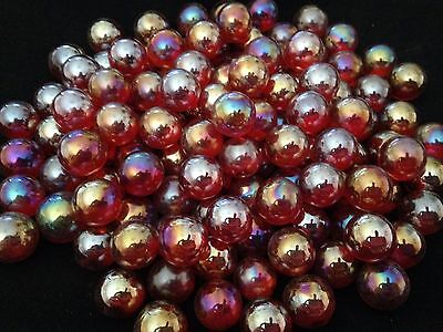 10 x 14mm Lustered ruby red HOM Glass Marbles Collectors or traditional game