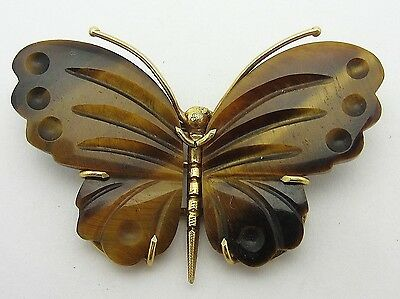 Vintage Carved Tiger's Eye Butterfly Brooch 14k Yellow Gold Pin Gemstone