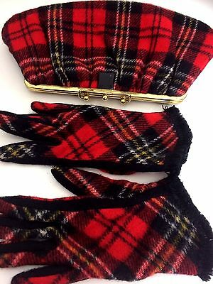 Vintage 1960's Red Plaid Wool Clutch Purse Bag & Matching Gloves