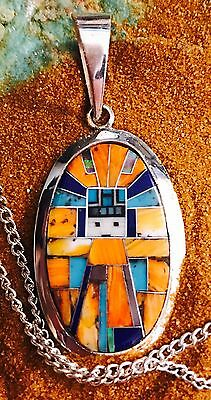 Native American Turquoise, Spiny Oyster & Kachina Pendant 1