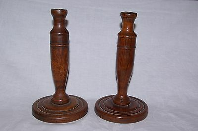 "Antique Pair Turned Wood Edwardian 9.5""  Oak Candlesticks Arts & Crafts c1900's"