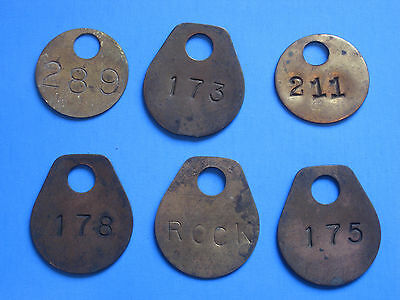 (6) Vintage Coal Mining Brass Check Tags Tool Token Miners Badge