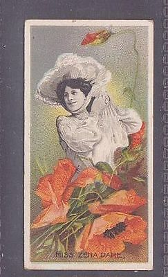 """Rare card from """"Actresses With Flowers"""" no.5 Taddy 1899 Zena Dare"""