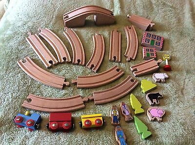 Wooden Childs Train Set - Track With Bridge Magnetic Trains Trees Figures Etc