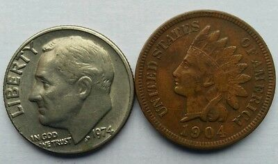 Indian Head One Cent 1904, one dime, 1974