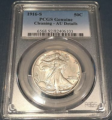 Rare / 1916-S U.S. Liberty Silver Half Dollar certified by PCGS AU details, Nice