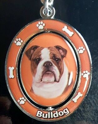 New BULLDOG Spinning Keychain Dog Pet Gift Key Chain