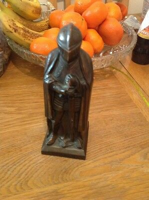 Vintage Art Deco Knight In Armour Spelter  Petrol Table Cigarette Lighter