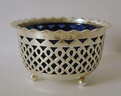A Good Quality Antique Sterling Silver Dining Table Salt Pot Birmingham 1909 #2