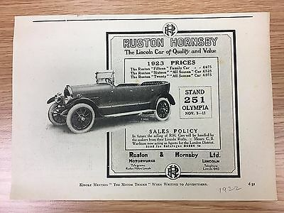 RARE 1922 RUSTON & HORNSBY Small B&W Vintage Car Advert L6
