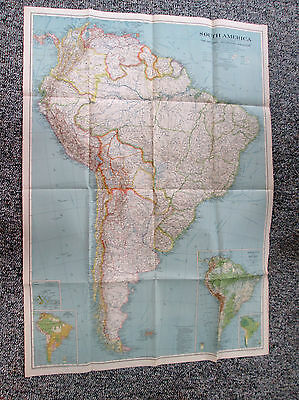 Vtg 1937 National Geographic Society Large Color Map of South America 565