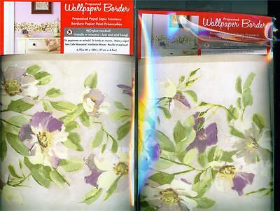 "LOT 2 Packages York Wallcoverings VIOLETS Border 6.75"" by 15 ft Floral NO GLUE!"
