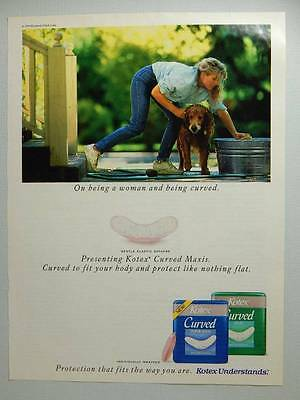 Kotex Curved Maxi Pads Vintage Magazine Ad Page - 1991 - Cute Girl Bathing Dog