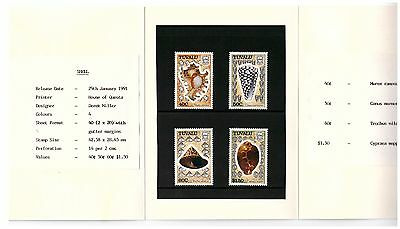 Tuvalu 1991 Sea Shells Set Of 4 In Presentation Pack Mint Never Hinged
