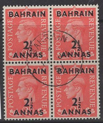 BAHRAIN SG75 1951 2½a on 2½d PALE SCARLET FINE USED BLOCK OF 4