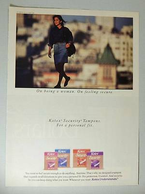 Kotex Security Tampons Vintage Magazine Ad Page - 1990 - Confident Woman