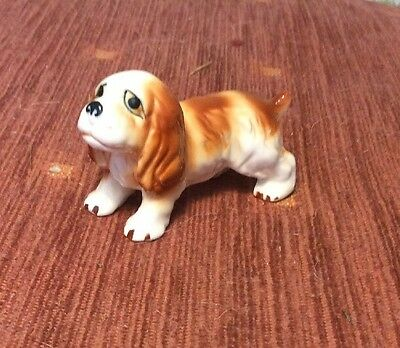 Small Ceramic Spaniel Dog Early Ceramic Bone China Figure / Ornament 3""